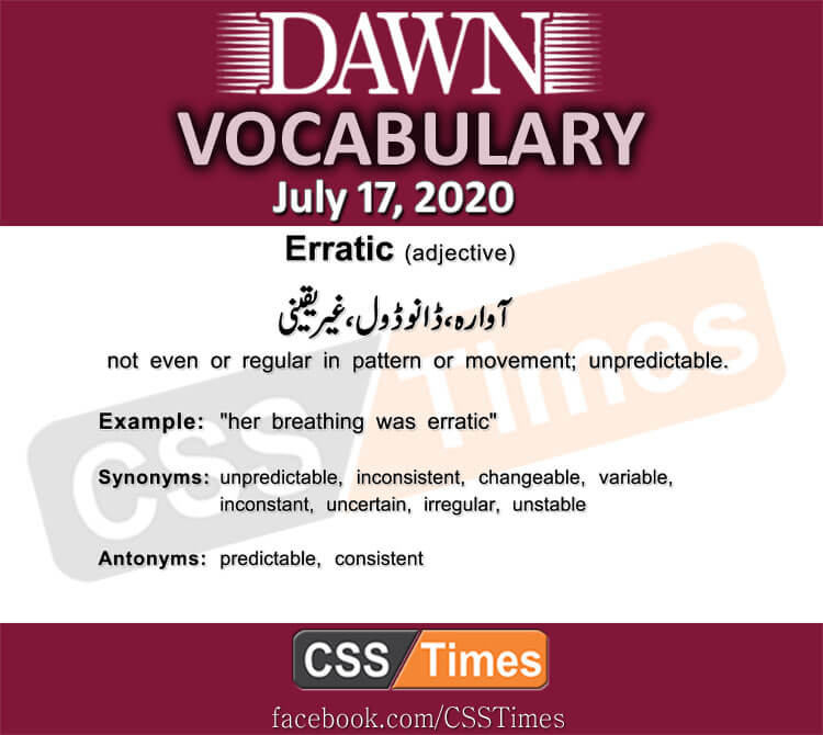 Daily DAWN News Vocabulary with Urdu Meaning (17 July 2020)