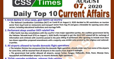 Daily Top-10 Current Affairs MCQs / News (August 07, 2020) for CSS, PMS