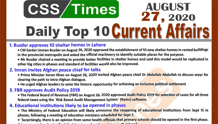 Daily Top-10 Current Affairs MCQs / News (August 27, 2020) for CSS, PMS