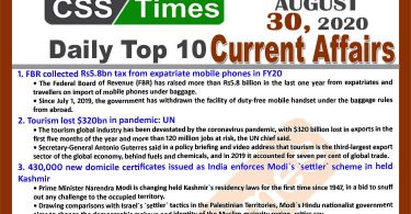 Daily Top-10 #Current_Affairs #MCQs #News (August 29, 2020) for #CSS, #PMS Visit to download in PDF: https://www.csstimes.pk/daily-top-10-current-affairs-mcqs-…/