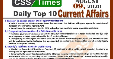 Daily Top-10 Current Affairs MCQs / News (August 09, 2020) for CSS, PMS