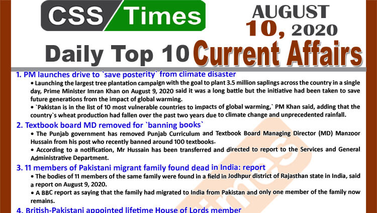 Daily Top-10 Current Affairs MCQs / News (August 10, 2020) for CSS, PMS
