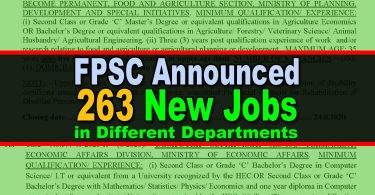 FPSC Announced 263 New Jobs (Advertisement No. 6/2020)