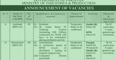 Announcement of Vacancies in Ministry of Industries & Production (Govt of Pakistan)