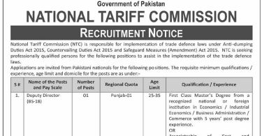 Deputy Director, Assistant Director Jobs Notice in NTF, Govt of Pakistan
