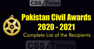 Complete List of the Recipients of the Pakistan Civil Awards (2021)