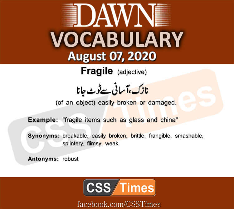 Daily DAWN News Vocabulary with Urdu Meaning (7 August 2020)