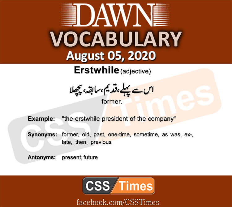 Daily DAWN News Vocabulary with Urdu Meaning (5 August 2020)