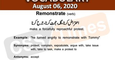Daily DAWN News Vocabulary with Urdu Meaning (6 August 2020)