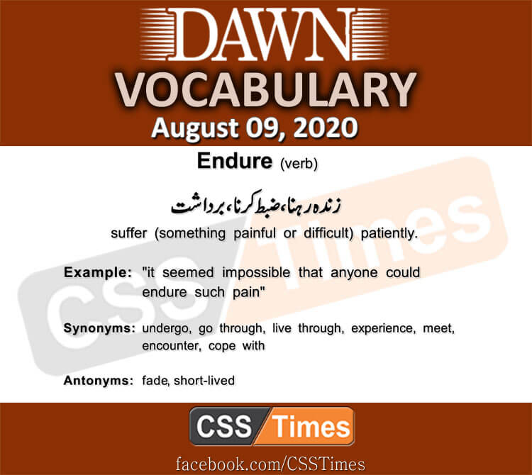 Daily DAWN News Vocabulary with Urdu Meaning (9 August 2020)