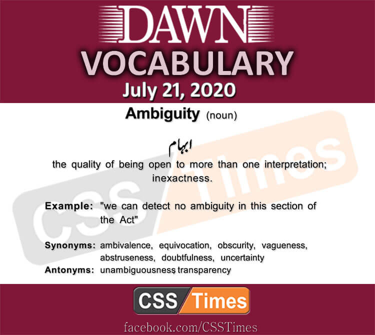 Daily DAWN News Vocabulary with Urdu Meaning (21 July 2020)
