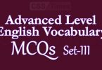 Advanced Level English Vocabulary MCQs (Set-3)