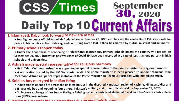 Daily Top-10 Current Affairs MCQs / News (September 30, 2020) for CSS, PMS