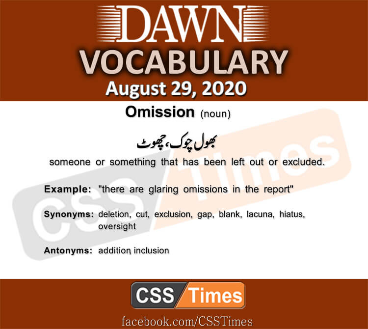 Daily DAWN News Vocabulary with Urdu Meaning (29 August 2020)