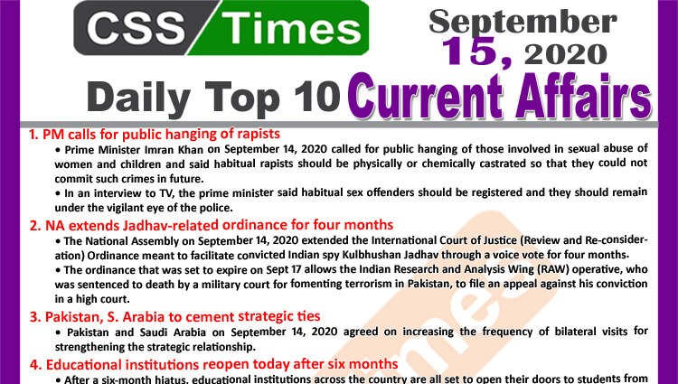 Daily Top-10 Current Affairs MCQs / News (September 15, 2020) for CSS, PMS