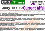 Daily Top-10 Current Affairs MCQs / News (September 28, 2020) for CSS, PMS