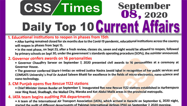 Daily Top-10 Current Affairs MCQs / News (September 08, 2020) for CSS, PMS