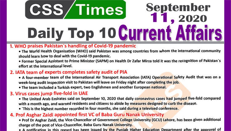 Daily Top-10 Current Affairs MCQs / News (September 11, 2020) for CSS, PMS