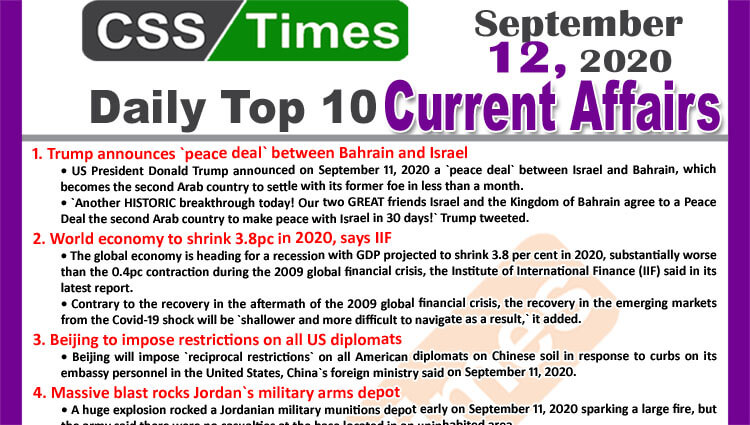 Daily Top-10 Current Affairs MCQs / News (September 12, 2020) for CSS, PMS