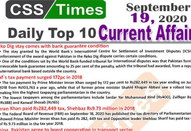 Daily Top-10 Current Affairs MCQs / News (September 19, 2020) for CSS, PMS