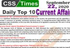 Daily Top-10 Current Affairs MCQs / News (September 22, 2020) for CSS, PMS