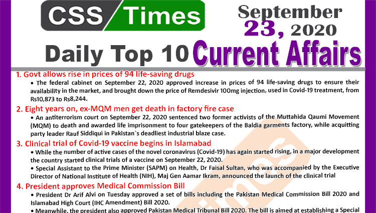 Daily Top-10 Current Affairs MCQs / News (September 23, 2020) for CSS, PMS