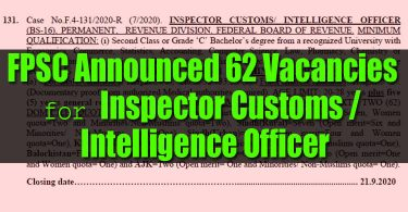 FPSC Announced 62 Vacancies for Inspector Customs / Intelligence Officer