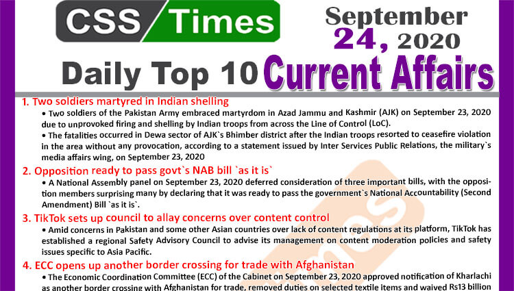 Daily Top-10 Current Affairs MCQs / News (September 24, 2020) for CSS, PMS