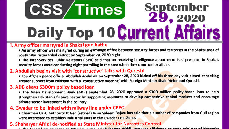 Daily Top-10 Current Affairs MCQs / News (September 29, 2020) for CSS, PMS