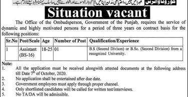 Situation Vacant in Office of the Ombudsperson (Govt of Punjab)
