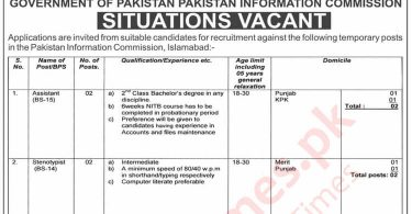 Situations Vacant in Pakistan Information Commission, Government of Pakistan