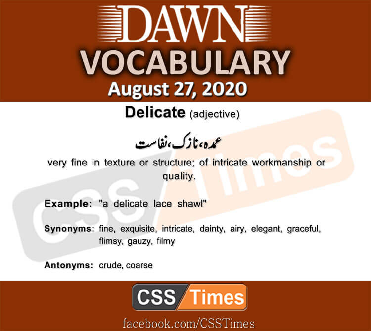 Daily DAWN News Vocabulary with Urdu Meaning (27 August 2020)