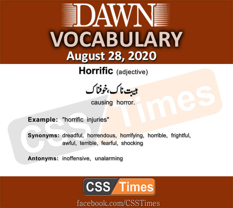 Daily DAWN News Vocabulary with Urdu Meaning (28 August 2020)