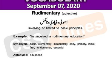 Daily DAWN News Vocabulary with Urdu Meaning (07 September 2020)
