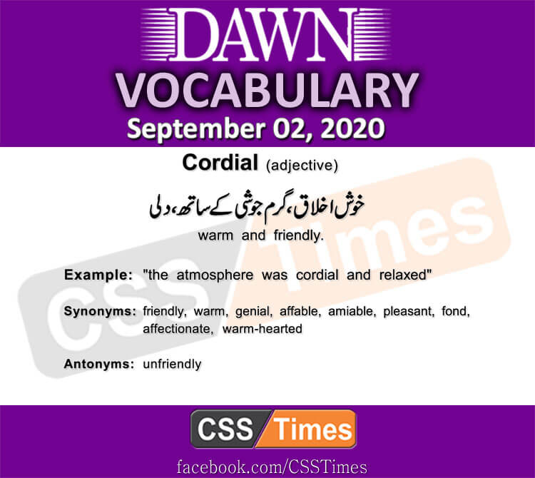 Daily DAWN News Vocabulary with Urdu Meaning (02 September 2020)