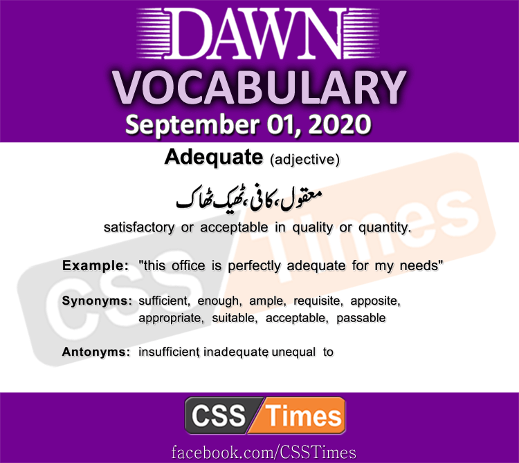 Daily DAWN News Vocabulary with Urdu Meaning (01 September 2020)