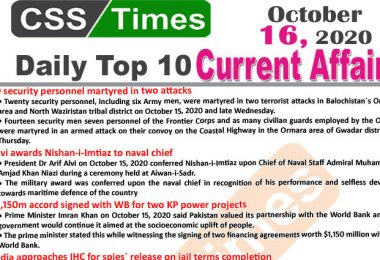Daily Top-10 Current Affairs MCQs / News (October 16, 2020) for CSS, PMS