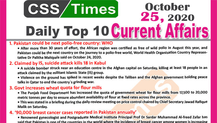 Daily Top-10 Current Affairs MCQs / News (October 25, 2020) for CSS, PMS