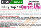 Daily Top-10 Current Affairs MCQs / News (October 28, 2020) for CSS, PMS