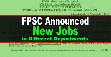 FPSC Announced New Jobs Opportunities in Advertisement No. 8/2020