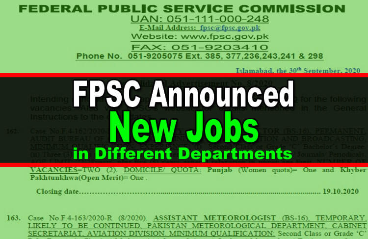 FPSC Announced New Jobs Opportunities in Advertisement No. 8/2020