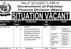 Situation Vacant in Finance Division (Main) Government of Pakistan