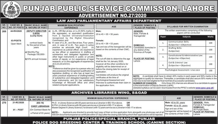 PPSC Advertisement number 27 (2)
