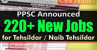 PPSC Announced 222 Tehsildar / Naib Tehsildar Jobs in Revenue Department