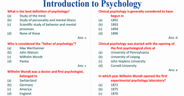 Psychology MCQs (Introduction to Psychology)