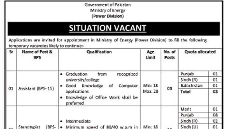 Situations Vacant in Ministry of Energy (Government of Pakistan)