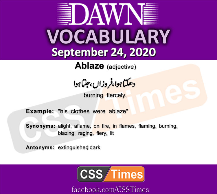 Daily DAWN News Vocabulary with Urdu Meaning (24 September 2020)