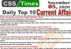 Daily Top-10 Current Affairs MCQs / News (November 05, 2020) for CSS, PMS