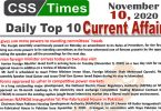 Daily Top-10 Current Affairs MCQs / News (November 10, 2020) for CSS, PMS