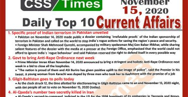 Daily Top-10 Current Affairs MCQs / News (November 15, 2020) for CSS, PMS